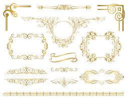 gold frame border png. Instant Download Golden Frame Border Clipart Gold Digital Graphic Black And White Library Png E