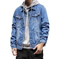Modoqo Mens Denim Jacket Long Sleeve Casual Button Down Big