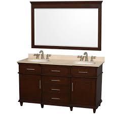 bathroom vanity 60 inch: ackley  inch chestnut finish double sink bathroom vanity