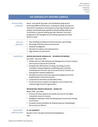 Sample Resume For Human Resources Generalist Formidable Resource On