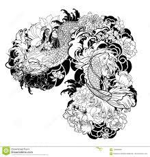 старый дракон с стилем татуировки карпа Koi японским иллюстрация