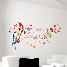French Feathers Home Decor And Accessories Music Note Colorful Feather Wall Decals Butterfly Pattern The Song 99
