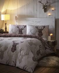 de cama tartan check stag duvet quilt cover set natural brown double co uk kitchen home