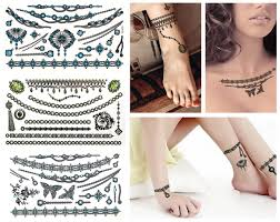 Value Plus 3 Sheet Sexy Jewelries Feather Stars Fashion Temporary Tattoos Blue Green Jewelries