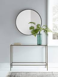 burnished gold glass console table
