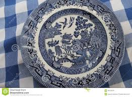 Blue And White China Pattern Delectable Vintage Blue Willow China Pattern Plate Stock Photo Image Of