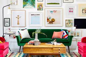 lush green velvet sofas in cozy living