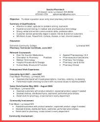 Pharmacy Technician Resume Sample Objective For Resume Example Of