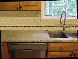 Unique Kitchen Ideas with Beige Subway Glass Tile Backsplash, Single Handle  Pull Down Kitchen Faucet