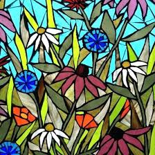 stained glass garden stained glass flower mosaic panel artist gallery shed