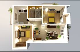 Apartment Rectangular  Bedroom Apartments Plan Using Queen Sized - Tv for bathrooms