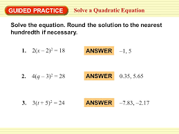 example 1 solve quadratic equations solve the equation