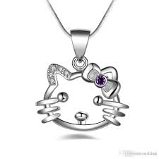 whole hello kitty silver plated female necklace diamond heart necklace silver chains from strafon 1 81 dhgate com