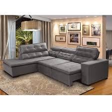 sofá 5 lugares canto retrátil reclinável chaise 2 80m cinza carregando zoom