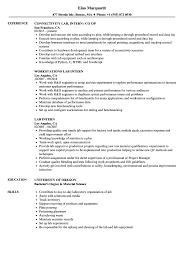 Lab Intern Resume Samples Velvet Jobs