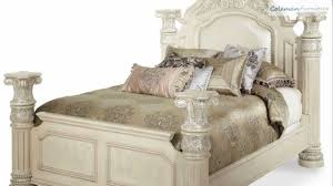 Michael Amini Bedroom Furniture Monte Carlo Ii Silver Pearl Poster Bedroom Collection From Aico
