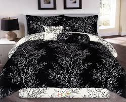 7 pc nature dendron branches silhouette reversible comforter set black white king com