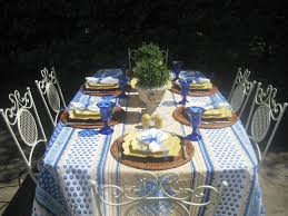 Blue And Gold Table Setting Springtime Patioscape Red Door Table Decor