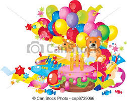 birthday cake and balloons and gifts. Brilliant And Childrenu0027s Birthday  Csp8739066 Throughout Birthday Cake And Balloons Gifts A
