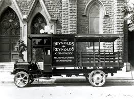 a reynolds and reynolds co truck from the early 1900s delivered forms to local businesses