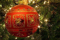 Red and gold ornamented Christmas bauble