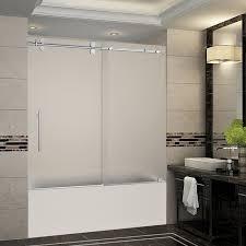 langham 56 60 x60 completely frameless sliding tub doo frosted stainless steel