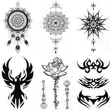 Cokohappy 6 Sheets Temporary Tattoo For Men Women Arm Shoulder Sanskrit Lotus Dream Catcher Phoenix Totem Mandala