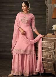 Best Designer Salwar Suits Online Pink Faux Crepe Designer Salwar Suit