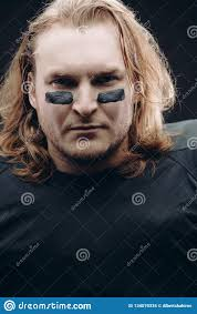 Face War Paint Designs Determined American Football Player Posing With Painted Face