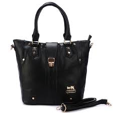 Best Style Coach Turnlock Medium Black Satchels Bbr Outlet YV3LN