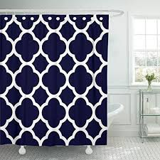 accrocn classic modern vintage chic navy blue and white quatrefoil pattern 36x72 inches waterproof shower curtain curtains fabric decorative bathroom