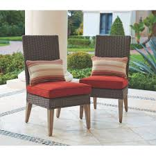home decorators collection naples brown all weather wicker outdoor armless dining chairs with e cushions 2 pack frs80660fs 2pk the home depot