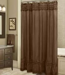Capello Natural Tan Cream Brown Damask Shower Curtain NEW Scroll