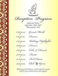 Wedding Reception Program Templates Free Wedding Reception Template Wedding Party Program