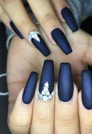 Navy Blue Nail Designs For Prom