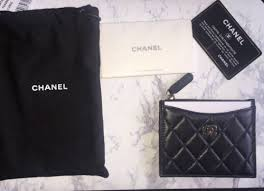 chanel zip card case. nwt chanel black clutch classic lambskin credit card holder zip coin case wallet chanel e