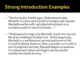 writers workshop macbeth literary analysis essay feedback ppt  7 strong introduction examples ""