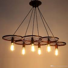 discount metal retro ceiling lamp light  wheel pendant edison
