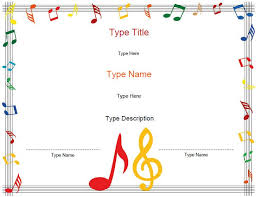 Piano Certificate Template Printable Musical Certificates Type In Names Descriptions So