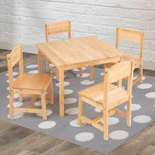 wooden kids table farmhouse kids 5 piece square table and chair set lpb