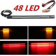 <b>Flexible</b> Motorcycle Strip <b>48</b>-<b>LED</b> Red Amber Tail Brake Stop Turn ...