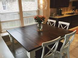 farmhouse kitchen table with bench and 6 chairs