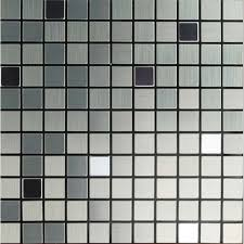 Small Picture Mosaic Tile Grey Square Brushed Aluminum Panel Metal Wall