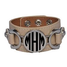 monogrammed leather bracelet with disc