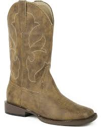 com roper cole kids tan faux leather western square toe boots boots