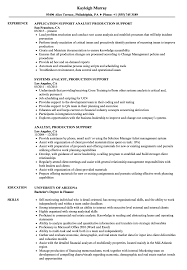 Analyst Production Support Resume Samples Velvet Jobs