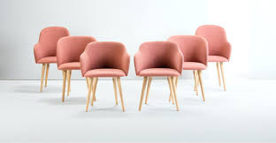 set of 2 high back dining chairs in pink and oak stig madecom pink dining chair