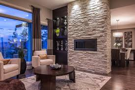 fireplace stone veneer living room contemporary with area rug brown built ins curtain panels dark