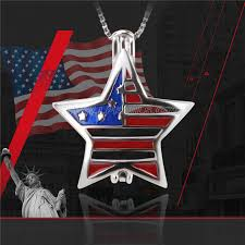 star shape american flag 925 sterling silver cage pendant