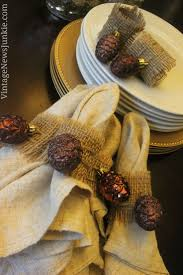 Easy-to-Make Burlap Napkin Rings {with Sparkly Pinecones!}
